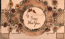 A HAPPY NEW YEAR purple & white forget-me-nots around circular inset containing title & 3 tiny robins, heavily perforated design