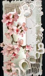 GOOD LUCK, BEST WISHES, PROSPERITY, HAPPINESS in horseshoes on front, pink & white embossed wild roses