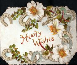 HEARTY WISHES in gilt, white embossed wild roses & many perforated horseshoes