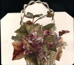 no front title, exaggerated ivy leaves & violets in wicker basket, butterfly right,