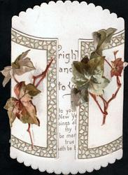 no front title, ivy stems & leaves on two vertical flaps