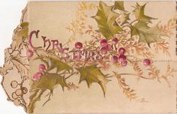 CHRISTMAS in pink across holly & fern