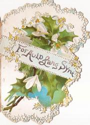 FOR AULD LANG SYNE on pale blue band across front of left flap in front of flowering holly spray