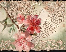 "no front title, spray of pink lilies on left flap,on right flap ""NOT THE GIFT BUT THE GIVING"", hammock & stylised lilies"