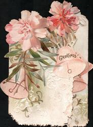GREETINGS, HAPPINESS, BEST WISHES across both flaps spray of pink lilies on left flap & bell,