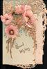 GOOD WISHES in gilt on top flap below pink poppies with glittered flowers facing up & hidden GREETING