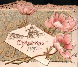 CHRISTMAS on white oblong plaque pink poppies with flowers facing up, stalks lower left