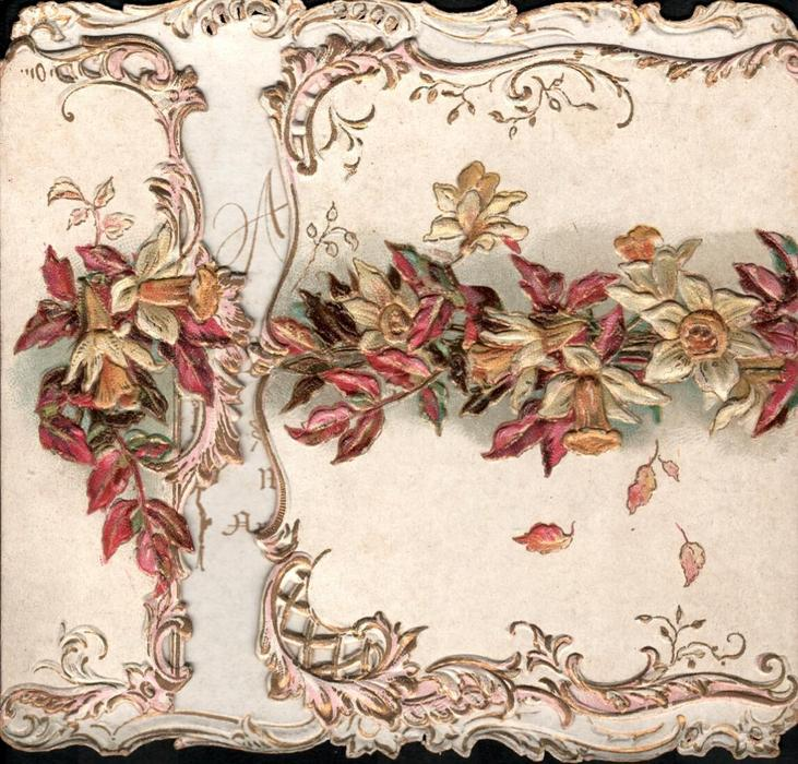 no front title, daffodils & virginia creeper across front of card in gilt borders