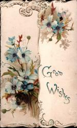 GOOD WISHES right flap, bunches of blue anemones on each flap, perforated design top left,
