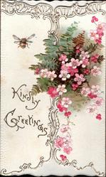 KINDLY GREETINGS on left flap with bumble bee, pink forget-me-nots & fern on right flap