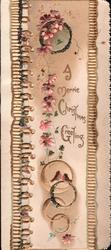 A MERRIE CHRISTMAS GREETING, pink forget-me-nots above 2 tiny robins, on  a perforated panel