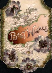 BEST WISHES on brown inset, four deep violet anemones around