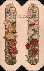 no front title, chrysanthemums & daisies in vertical perforated columns on each flap,