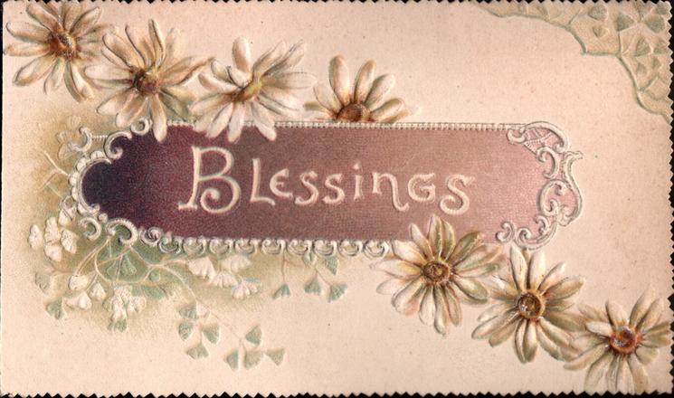 BLESSINGS in white on brown inset, white daisies diagonally across card,
