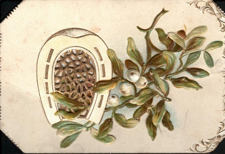 no front title, horseshoe around perforforated gilt design, mistletoe with four white berries right