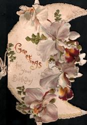 GREETINGS FOR YOUR BIRTHDAY, purple iris on half -moon perforated flap