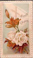 A JOYFUL CHRISTMAS in gilt, 2 white roses & bud below lily spray in light blue  panel, faint cross behind,