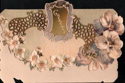GREETINGS  on brown plaque set in perforated design, chain of white apple blossom & purple/white pansies