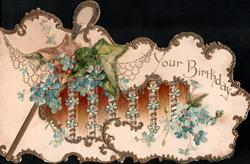 YOUR  BIRTHDAY upper right, many sprays of blue forget-me-nots & 2 ivy leaves, shepherds crook, gilt & glittered edges,