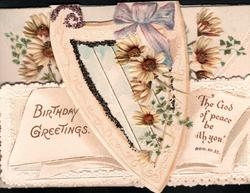 BIRTHDAY GREETINGS -- THE GOD OF PEACE BE WITH YOU yellow & white daisies over plaque & on both flaps, ginkgo leaves around