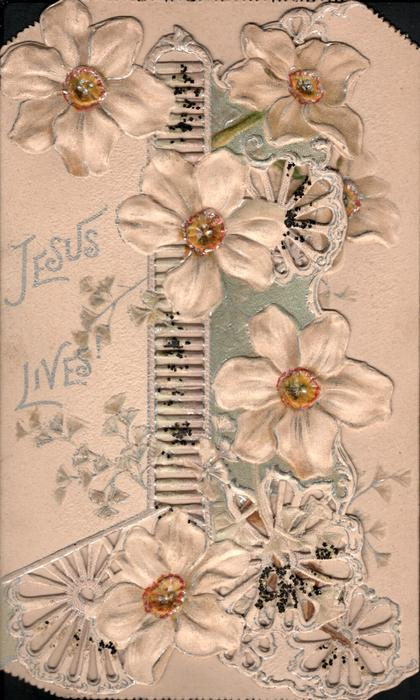 JESUS LIVES in silver, many white clematis & ginkgo leaves on heavily perforated front