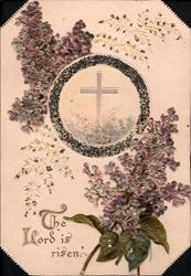 THE LORD IS RISEN lilac above & below cross inset in leafy circle