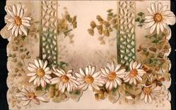 no front title, white daisies with yellow centres, ginkgo leaves, horizontal perforated designs