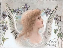 A HAPPY EASTER right, angel's head under stylised violets looking up & right,