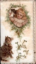 WITH MY LOVE in gilt, girl with kitten on shoulder looks through perforation down at cat