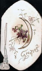 GREETINGS in gilt, embossed bell pull left, violets left of very thin perforated moon, rural inset on right flap