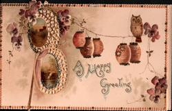 A HAPPY GREETING, purple & white pansies & Japanese lanterns & owl above 2 perforated rural insets
