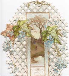 no front title, sprays of blue forget-me-nots & ivy leaves in front of trellis through which there is a framed gateway