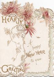 HEARTY GREETING on left flap, pale purple chrysanthemums, design right above A HAPPY NEW YEAR TO YOU