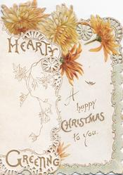 HEARTY GREETING on left flap, bronze chrysanthemums, design right above A HAPPY CHRISTMAS TO YOU