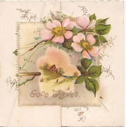 GOOD WISHES in gilt below pink & white embossed wild roses above snowy rural inset