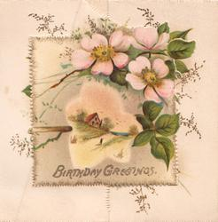 BIRTHDAY GREETINGS in gilt below pink & white embossed wild roses above snowy rural inset