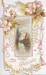 GREETINGS in gilt below wild roses & cobweb above watery rural inset