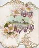 BEST WISHES in purple above & below rural inset, pink wild roses