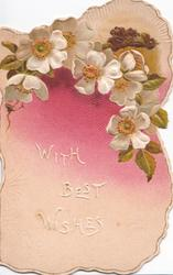 WITH BEST WISHES in white, pink & white embossed wild roses below small rural inset, purple background