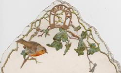 GOOD LUCK in gilt horseshoe above ivy leaves on upper flap, robin perched below