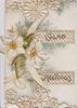 GLAD GREETINGS on right flap two narcissi on heavily perforated left flap with thin sliver of moon (C)