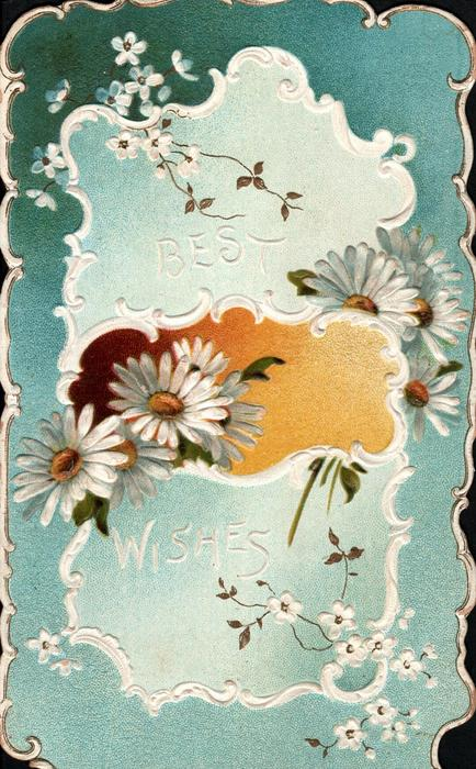 BEST WISHES in white, white daisies with yellow centres across card, brown/yellow inset in blue/white plaque surrounded by stylised white daisies