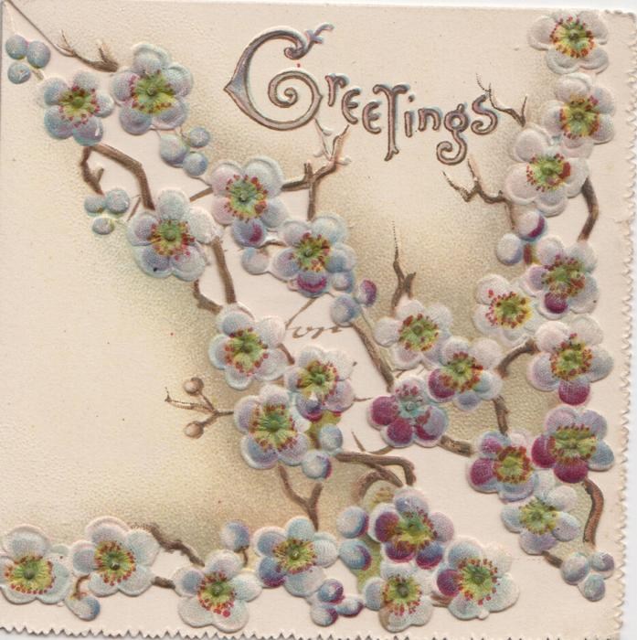 GREETINGS in gilt above blue cherry blossom on two triangular front flaps