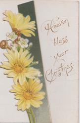 HEAVEN BLESS YOUR CHRISTMAS yellow daisies vertically left flap, violets in front of seascape inside