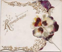 REMEMBRANCE to left on on white plaque, purple pansy & design right, two other pansy flaps