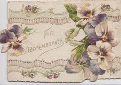 FOR REMEMBRANCE, purple & white pansies on front left flap, perforated design