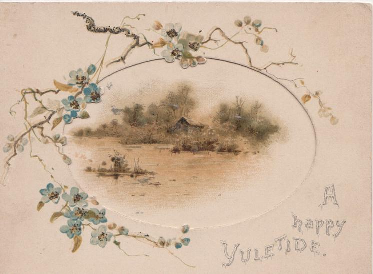 A HAPPY YULETIDE, perforated flap opens to show watery rural scene