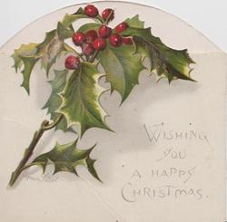 WISHING YOU A HAPPY CHRISTMAS below spray of red berried holly, spray of leaves on back
