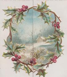 no front title, berried holly frames circular inset of winter rural view