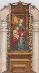 Madonna & Child, she is seated in huge ornate wooden chair with Jesus on her lap